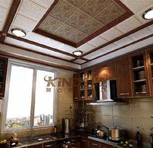 复古集成吊顶装修效果图-美式厨房