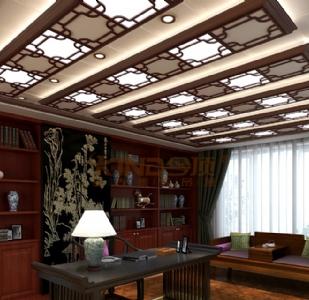 复古集成吊顶装修效果图-中式书房